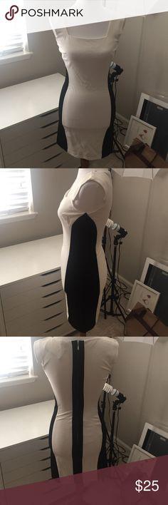 EUC Bebe black and white dress A beautiful black and white body con dress from Bebe. bebe Dresses