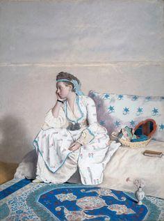 Jean-Etienne Liotard Mujer en un vestido de Turquía (1752-1754) Rijksmuseum, Amsterdam.  Un ejemplo de orientalismo temprano.  Jean-Etienne Liotard (1702 -1789) fue uno de los artistas más excéntricos de su tiempo.  El Liotard nacido en Suiza fue un verdadero cosmopolita y viajó por casi continuamente.  Después de una visita a Constantinopla, lo que causó una profu