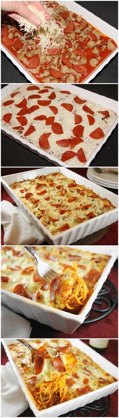 Pizza Spaghetti Bake 1 (12 oz.) box spaghetti (I used whole wheat)  1 tsp. salt  1 lb. mild pork sausage  2 oz. (about 30 slices) turkey pepperoni, halved  1 (26 oz.) jar basil & tomato pasta sauce  1/4 c. grated Parmesan cheese  1 (8 oz. ) package shredded Italian 5-cheese blend