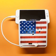 Add style and art to your devices with Glamsockets®, our Decorative 3 Outlet Wall Mount Surge Protector with USB Charging Ports by Mac and Paco Side Tables Bedroom, July 4th, Lovers Art, American Flag, Pattern Design, Charger, Interior Design, Amazon, Shop