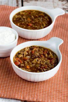 Ground Beef and Sauerkraut Low-Carb Soup found on KalynsKitchen.com