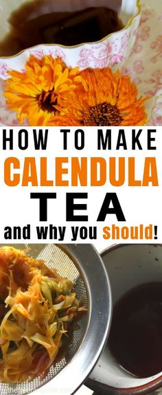 How to Make Calendula Tea- And Why You Should! If I could tell you to add one herb to your garden- it would be calendula. Calendula has some amazing benefits- skin healing, antimicrobial, and antimicrobial properties! #herbs #herbalremedies #herbalism #herbtea Holistic Remedies, Herbal Remedies, Health Remedies, Natural Remedies, Calendula Tea, Calendula Benefits, Marigold Flower, Herbs For Health, Calendula