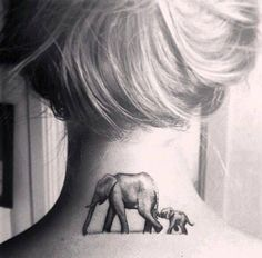 and baby tattoo 51 Cute and Impressive Elephant Tattoo Ideas Mutter und Baby Elefant Tattoo im Nacken Baby Tattoos, Love Tattoos, Beautiful Tattoos, Body Art Tattoos, New Tattoos, Tattoos For Women, Mommy Tattoos, Tattoos Skull, Girly Tattoos