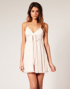ShopStyle: Lipsy Bow Front Chiffon Babydoll Dress