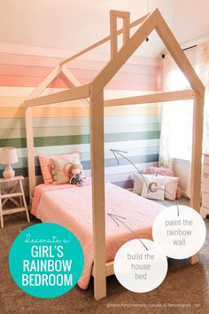 Your little girls will love this bedroom! A vibrant rainbow wall made with painted plywood shiplap planks is the perfect background for a dreamy house bed frame. Learn how to do both to create a colorful modern farmhouse bedroom for kids. Includes a full rainbow paint list! #rainbowroom #rainbowaccentwall #coloredshiplap #rainbowpaintcolors #housebedframe Rainbow House, Rainbow Room, Rainbow Wall, House Frame Bed, House Beds, Bed Frame Plans, Painting Shiplap, Built In Dresser, Closet Renovation