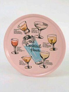 The Cocktail Hour Tray: Hervorragendes Vintage-Melamin-Tablett, bedruckt mit Cocktailglas . Palm Springs, Cocktail Illustration, Vintage Cocktails, Vintage Pink, Vintage Decor, Vintage Stuff, Vintage Items, Design Retro, Vintage Bar Carts