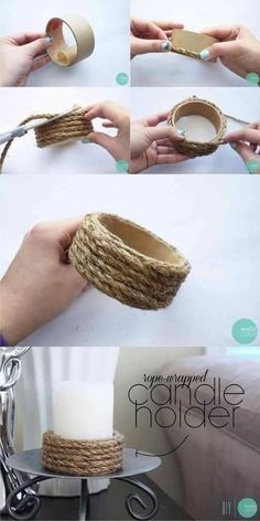 Portavelas con tubo de cartón y cuerda (Muy Ingenioso) - Kendin yap You are in the right place about diy face mask Here we offer you the most beautiful pict - Rope Crafts, Diy Home Crafts, Diy Home Decor, Upcycled Crafts, Twine Crafts, Room Decor, Beach Crafts, Wooden Crafts, Diy Para A Casa