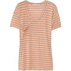 Kain Classic striped modal T-shirt ($36) ❤ liked on Polyvore featuring tops, t-shirts, shirts, tees, stripes, orange, modal shirts, striped t shirt, pink tee and pink striped shirt