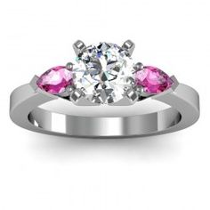 Pink Sapphire Round & Princess Diamond Engagement Ring set in 18k White Gold  In stockSKU: S1001-PS-18W