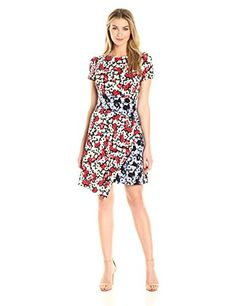 Maggy London Women's Fractured Pansy Print Jersey Shift Dress - Fully lined in tricot; unlined sleeves Center back invisible zipper with hook and eye