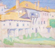 Spyros Papaloukas (Greek, 1892-1957) Monasteries, Mount Athos