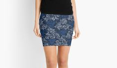 Blue Abstract Curls & Swirls Vintage Floral Pattern