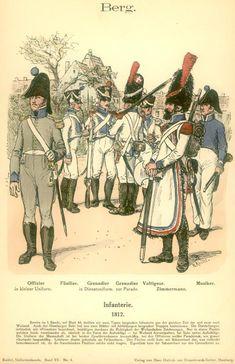 Knötel-Tafel 15/4   Großherzogtum Cleve-Berg: Infanterie. 1812 (Offizier. Füsilier. Grenadier in Dienstuniform und zur Parade. Voltigeur. Zimmermann. Musiker.)