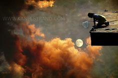 Fantasy Fine Art Photography Print - Girls Room Decor Nursery Wall Art - Catch the Moon - Girl in the Fiery Sky 6x10. $28.00, via Etsy.
