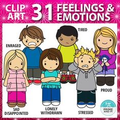 CUTE KIDS EMOTIONS CLIP ART: This clip art set is jam packed with 62 files total: 31 color and 31 black and white boys and girls exhibiting various feelings and emotions. Great for teaching emotions, helping students learn to express themselves or to create your own teaching unit.Emotions and feelings included in this set (:1.