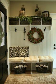 entry storage, love the seasonal decor