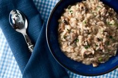 A recipe for morel mushroom risotto, made with fresh morel mushrooms and wild onions. You can use any mushroom for this risotto. Pasta Sides, Mushroom Risotto, Risotto Recipes, Molecular Gastronomy, Everyday Food, Healthy Recipes, Healthy Meals, Yummy Recipes, Yummy Food