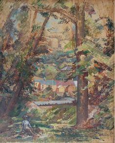 #Percy #Horton: #Landscape: #houses through gap in #trees, figure left foreground, circa 1925  Unframed  #Oilonboard #oilpainting #modernart #landscape #forest #Britishart #llfa