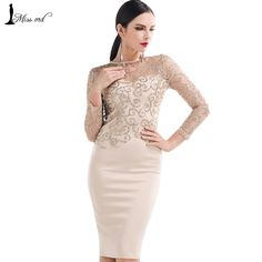Missord Flash sexy halter high-necked long-sleeved sequin dress FT4180