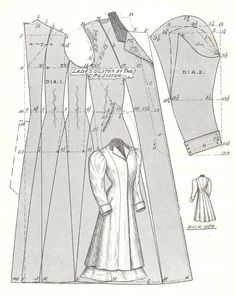 Pattern Diagram for Woman's Ulster Coat Pattern featured in The Cutter's Practical Guide: Ladies' Garments, c. 1900 With a few edits this is going to be my winter coat Costume Patterns, Coat Patterns, Clothing Patterns, Dress Patterns, Victorian Coat, Victorian Pattern, Historical Costume, Historical Clothing, Patron De Couture