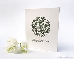 Sweet year rosh hashanah greeting card set of 6 rosh hashanah set of rosh hashanah 5 papercut cards send sweet new year thoughts to friends and family with this rosh hashanah card featuring the words happy new year m4hsunfo
