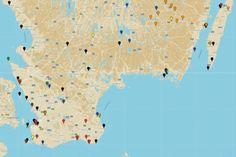 Auf der Karte von Südschweden zeigen wir Ihnen die schönsten Sehenswürdigkeiten, geben Tipps für Restaurants und verraten Ihnen, wo es in Südschweden am schönsten ist. Holiday Travel, Diagram, Camping, Map, Restaurants, Road Trips, Lund, Travelling, Wanderlust