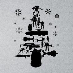 Aliens Christmas Tree Silhouette