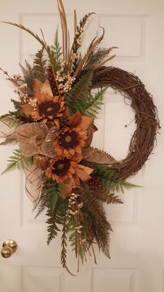 Make a grapevine wreath for fall. A fun crafting project. Autumn Wreaths For Front Door, Diy Fall Wreath, Holiday Wreaths, Wooden Wreaths, Door Wreaths, Grapevine Wreath, Sunflower Wreaths, Autumn Decorating, Fall Flowers