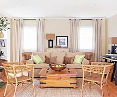 320 * Sycamore: my favorite paint colors: Benjamin Moore - Monroe Bisque Brown Leather Sofa Living Room, Brown Leather Furniture, Brown And Blue Living Room, Leather Living Room Furniture, Brown Sofa, Tan Leather, Living Room Color Schemes, Living Room Colors, Tan Sofa