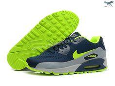 timeless design 0f27e 9a6a8 Orginal Nike Sportswear Air Max 90 EM Homme askets Enc e Fluo Bleu Profond Volt  Argent Romain Blahc En Ligne Soldes