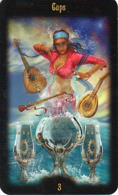 Legacy of the Divine Tarot / Gateway to the Divine Tarot by Ciro Marchetti - 3 of Cups