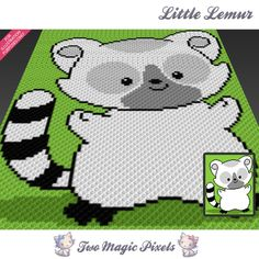 Little Lemur crochet blanket pattern; cross s… C2c Crochet, Baby Blanket Crochet, Crochet Blankets, Baby Blankets, Crochet Baby, Holiday Crochet Patterns, Afghan Crochet Patterns, Corner To Corner Crochet Pattern, Stitch Cartoon