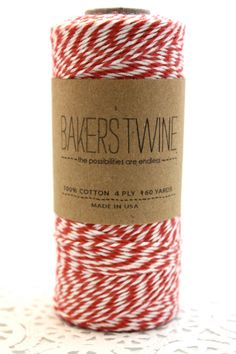 160 yards Red and White Bakers Twine wound on by twistedsugartwine
