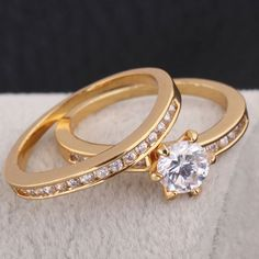 Fashion Couple Ring Inlay White Zircon 18K Gold Plated Copper Finger Ring