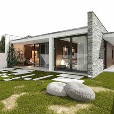 Simple House Design, Minimalist House Design, Modern House Design, Home Building Design, Home Design Plans, Modern Architecture House, Architecture Design, Modern Bungalow House, Model House Plan