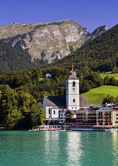 View of St. wolfgang church with the Schafberg mountain, Upper Austria. Austria.
