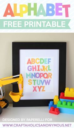 Add a bright, colorful Alphabet Art Free Printable to your child's bedroom or playroom. Just download the free printable for easy decor or Teacher Gift! | Craftaholics Anonymous® Printable Art, Free Printables, Printable Alphabet, Printable Designs, Toy Room Storage, Montessori, Abc Party, Paper Crafts, Diy Crafts