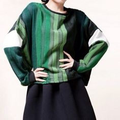 Oversized Unique Green long sleeves shirt Gradually changed different green color patch . Super unique and cute Jackets & Coats