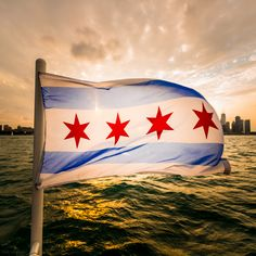 The glorious flag in front of the Chicago skyline. This photo was the winner of our photo contest. Florida Living, Florida Home, South Florida, Barack Obama, Chicago Skyline, Chicago Art, Michigan, My Kind Of Town, Chicago Illinois