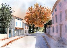 Online Tutorials, Pen And Watercolor, Teaching Art, Around The Worlds, France, Painting, Outdoor, Beautiful, Outdoors