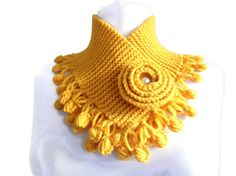 Yellow mustard neckwarmers, knit collar,  autumn, wool, hand-knitted,fashion,gift,Christmas,new