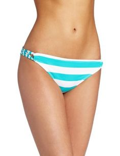 Hobie Women's Sally Sells Seashells Twist Side Hipster Hobie. $25.50. Small stripes on back. Hand Wash. Back has loop side. 82% Nylon/18% Spandex. Made in Indonesia