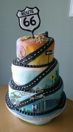 #833 Route 66 Cake by Desserts by Lori