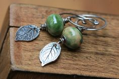 Stering Silver Rustic Leaf Autumnal earrings green by Tribalis