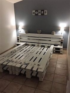 100 DIY Ideas For Wood Pallet Beds: Rehashing is budget friendly and environmentally healthy activity. So get ready to have mesmerizing wood pallet beds at your Pallet Bed Frames, Diy Pallet Bed, Wooden Pallet Projects, Wooden Pallet Furniture, Wood Pallets, Pallet Wood, Pallet Ideas, Furniture Ideas, Pallet Shelves