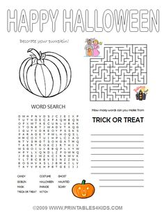 Halloween 4-in1 Activity Sheet - coloring, maze, word search