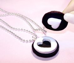 Oreo Cookie - Best Friends Necklaces BFF - Cute Heart Necklace - Chocolate Sandwich Cookie. $25.95, via Etsy.