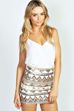 Ruby Sequinned Mini Skirt at boohoo.com