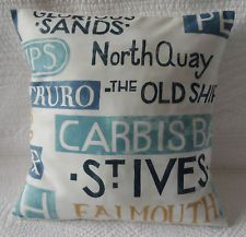 "16"" Cushion Cover Duck Egg Blue Beach Names Seaside Nautical Print New Handmade"