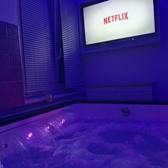 Purple glow master bathroom with tub jacuzzi and tv. Purple glow master bathroom with tub jacuzzi an Dream Bathrooms, Dream Rooms, Dream Bedroom, Purple Bathrooms, Neon Bedroom, Bedroom Decor, Grunge Bedroom, Blue Bedrooms, Bedroom Signs